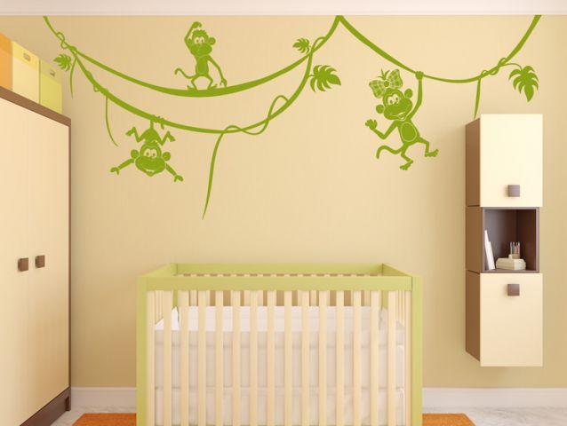מדבקת קיר לחדר ילדים - קופים