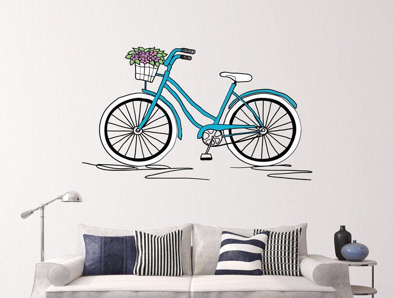 מדבקת קיר - אופניים מצויירות