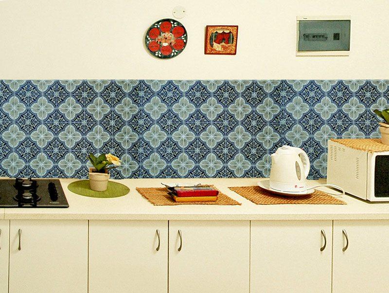 מדבקות קיר למטבח | מדבקות אריחים | אוריינטל טורקיז