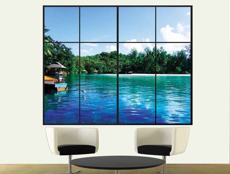 מדבקת קיר תלת מימדית לסלון | מדבקת קיר | חלון לאי קריבי