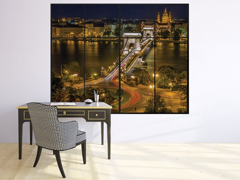 מדבקת קיר תלת מימדית לסלון | מדבקת קיר | חלון לגשר