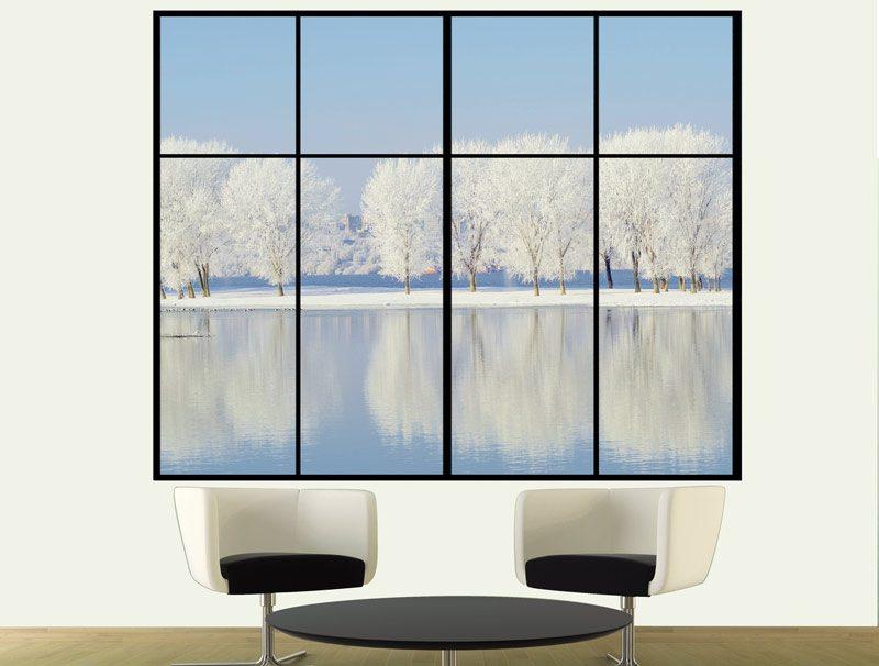 מדבקת קיר לחדר ישיבות | מדבקת קיר | חלון לנוף מושלג
