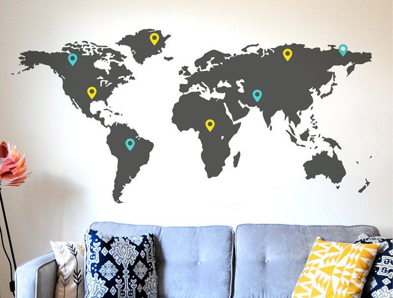 מדבקת קיר לסלון | סט מדבקות קיר | טיול גדול בעולם