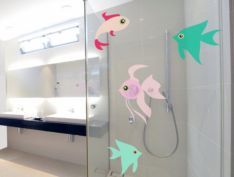 מדבקת קיר למקלחת | מדבקה לזכוכית | דגים
