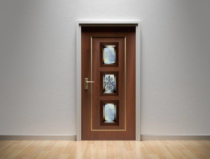 מדבקות קיר | מדבקות לדלת | מדבקת קישוט לדלת | נישת זכוכית כחולה