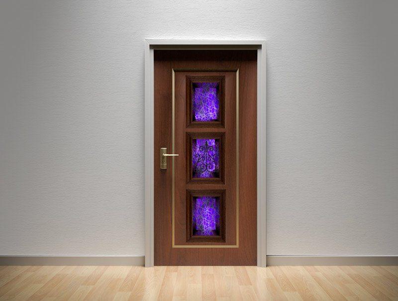 מדבקת קיר | מדבקות לדלת | מדבקת קישוט לדלת | נישת ויטראז' בסגול