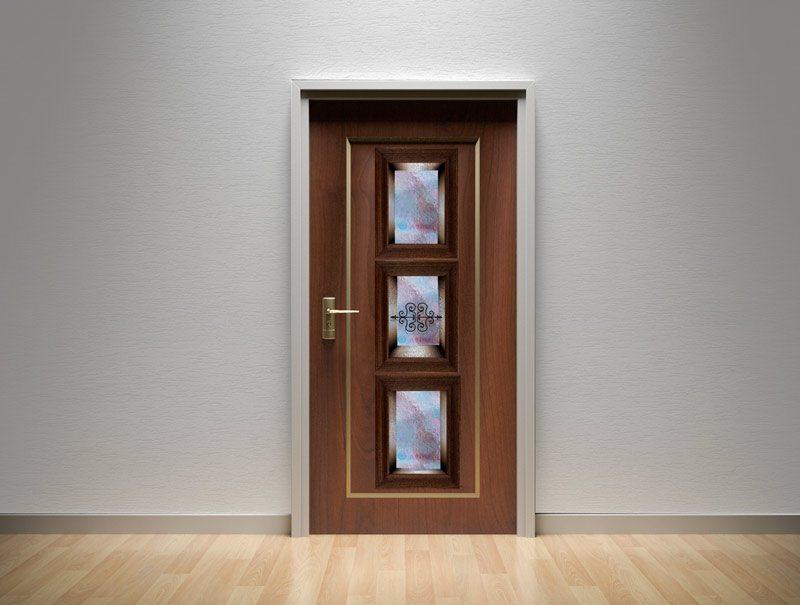 מדבקות קיר | מדבקות לדלת | מדבקת קישוט לדלת | נישת זכוכית תכלת וסגול