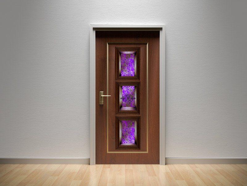מדבקות קיר | מדבקות לדלת | מדבקת קישוט לדלת | נישת זכוכית ורוד