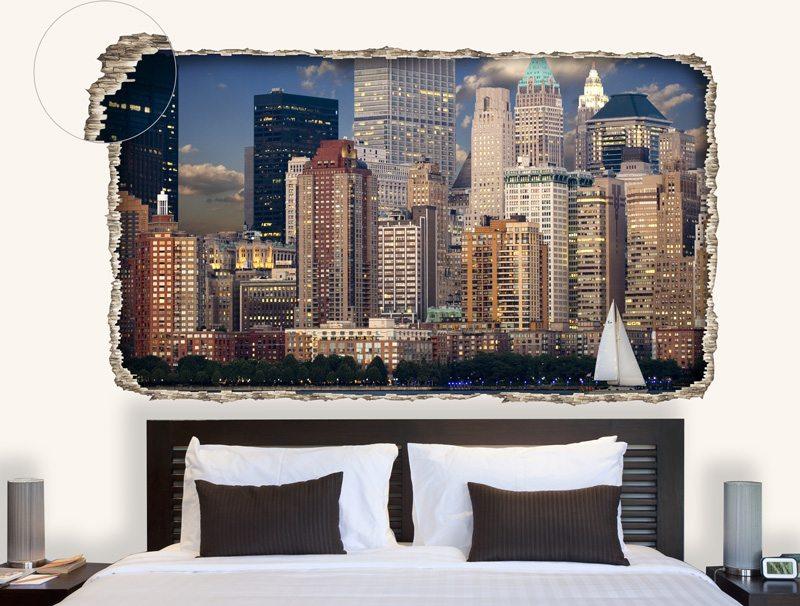 מדבקת קיר תלת מיימדית עם נוף של מרהיב של עיר