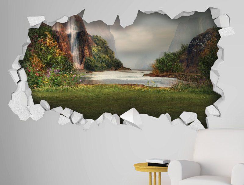 מדבקת קיר | חור קיר עם נוף של אגם עם מפלים