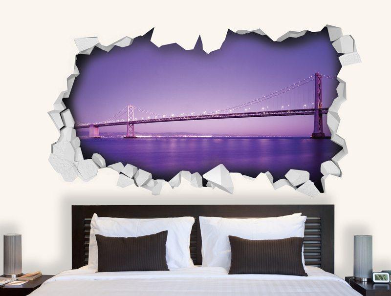 מדבקת קיר | גשר ונוף סגול